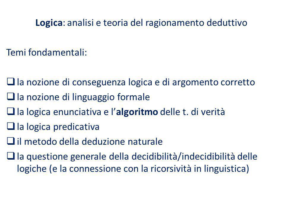 Logica: analisi e teoria del ragionamento deduttivo Temi fondamentali: la nozione di conseguenza logica e di argomento corretto la nozione di linguagg