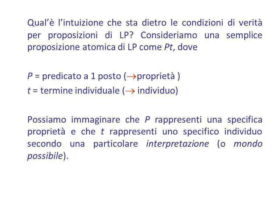Qualè lintuizione che sta dietro le condizioni di verità per proposizioni di LP? Consideriamo una semplice proposizione atomica di LP come Pt, dove P