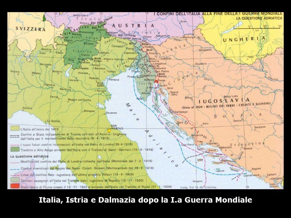 Italia, Istria e Dalmazia dopo la I.a Guerra Mondiale
