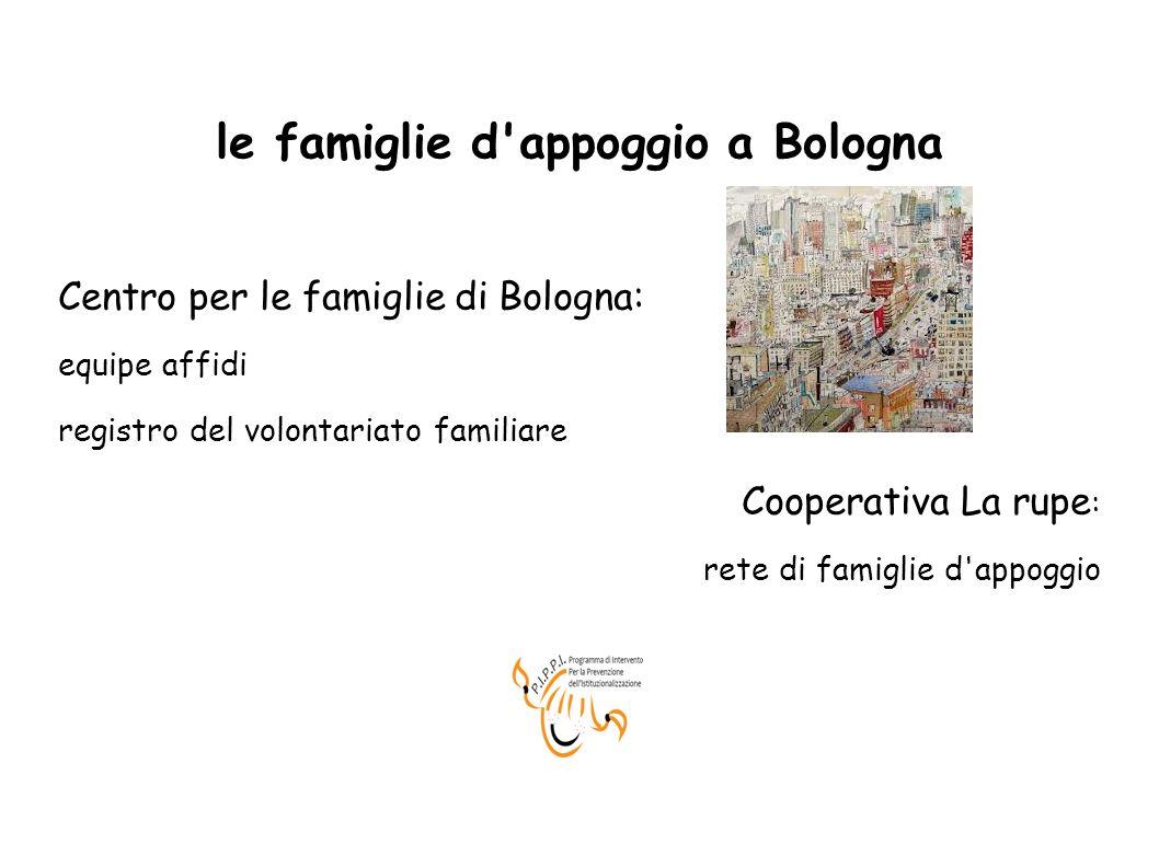 le famiglie d'appoggio a Bologna Centro per le famiglie di Bologna: equipe affidi registro del volontariato familiare Cooperativa La rupe : rete di fa