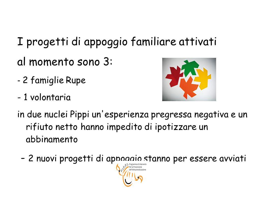 I progetti di appoggio familiare attivati al momento sono 3: - 2 famiglie Rupe - 1 volontaria in due nuclei Pippi un'esperienza pregressa negativa e u