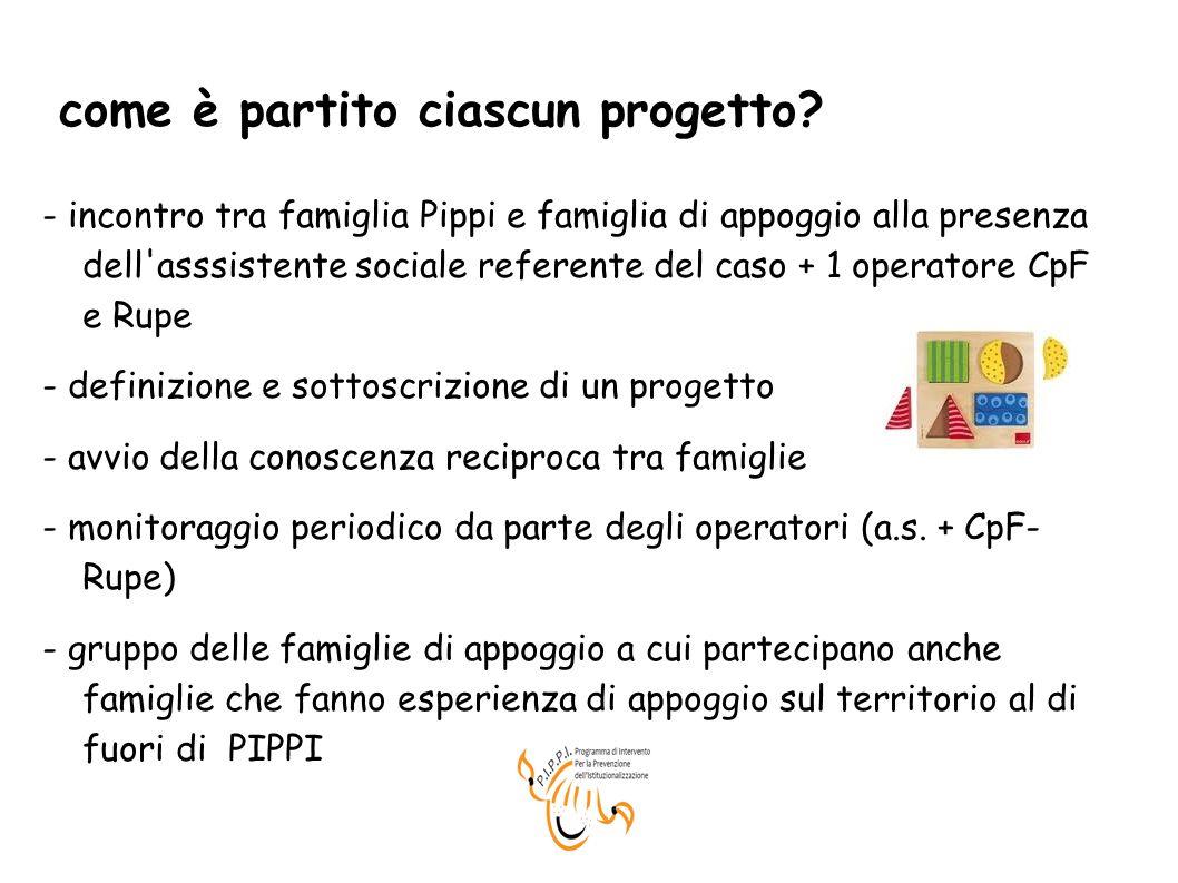 come è partito ciascun progetto? - incontro tra famiglia Pippi e famiglia di appoggio alla presenza dell'asssistente sociale referente del caso + 1 op
