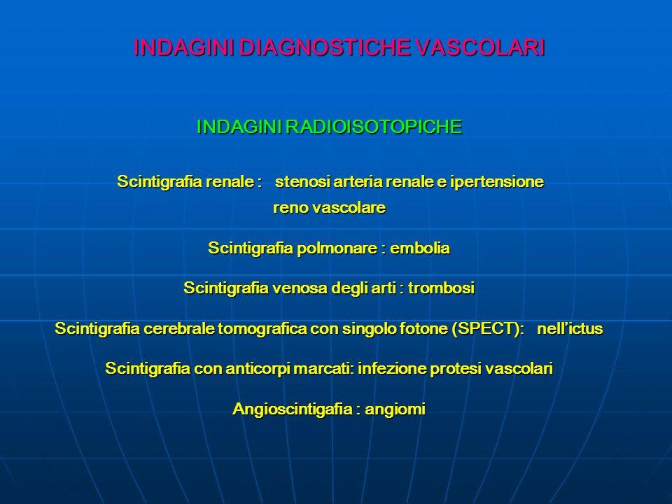 INDAGINI DIAGNOSTICHE VASCOLARI INDAGINI RADIOISOTOPICHE Scintigrafia renale : stenosi arteria renale e ipertensione Scintigrafia renale : stenosi arteria renale e ipertensione reno vascolare Scintigrafia polmonare : embolia Scintigrafia venosa degli arti : trombosi Scintigrafia cerebrale tomografica con singolo fotone (SPECT): nellictus Scintigrafia con anticorpi marcati: infezione protesi vascolari Angioscintigafia : angiomi