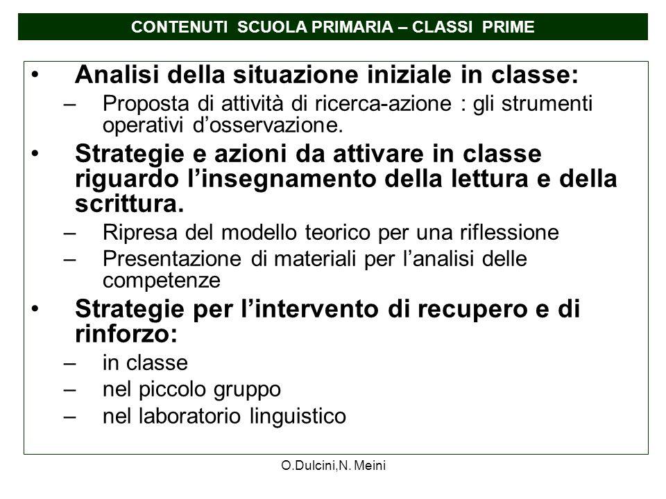 O.Dulcini,N. Meini Analisi della situazione iniziale in classe: –Proposta di attività di ricerca-azione : gli strumenti operativi dosservazione. Strat