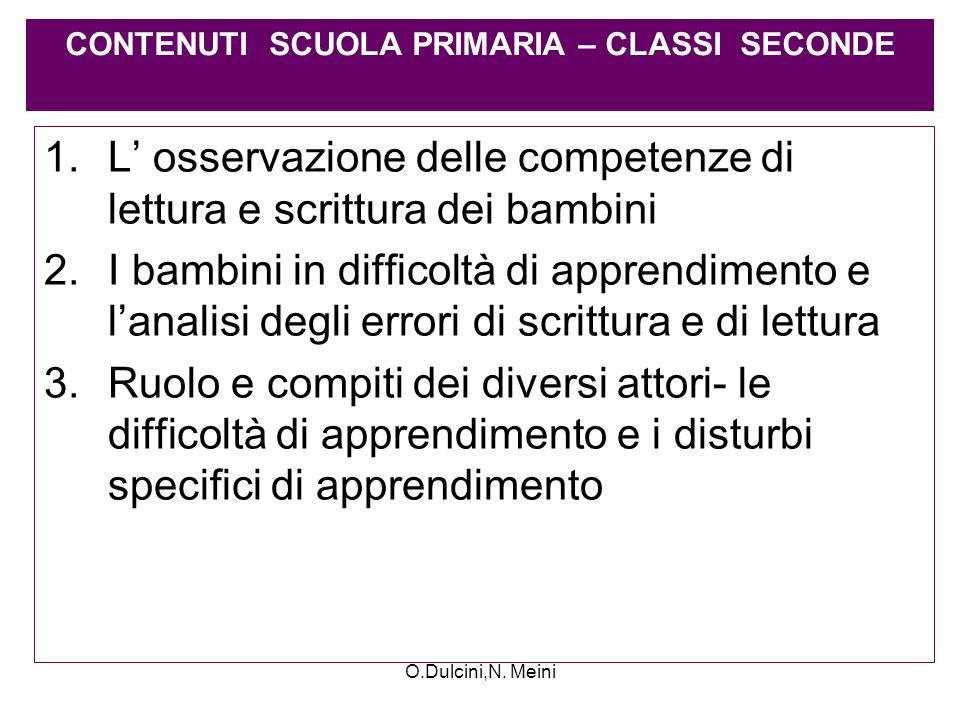 O.Dulcini,N. Meini 1.L osservazione delle competenze di lettura e scrittura dei bambini 2.I bambini in difficoltà di apprendimento e lanalisi degli er