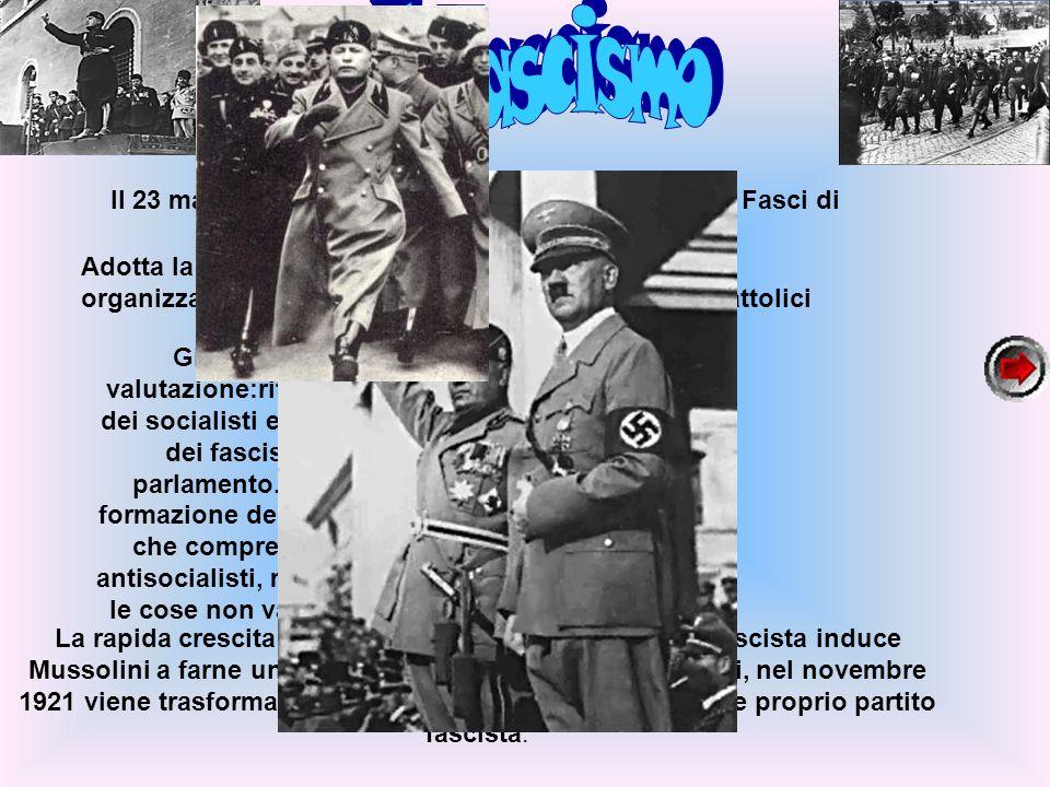 Il 23 marzo 1919 Benito Mussolini fonda a Milano i Fasci di combattimento,un movimento politico. Adotta la violenza come strumento di lotta politica,