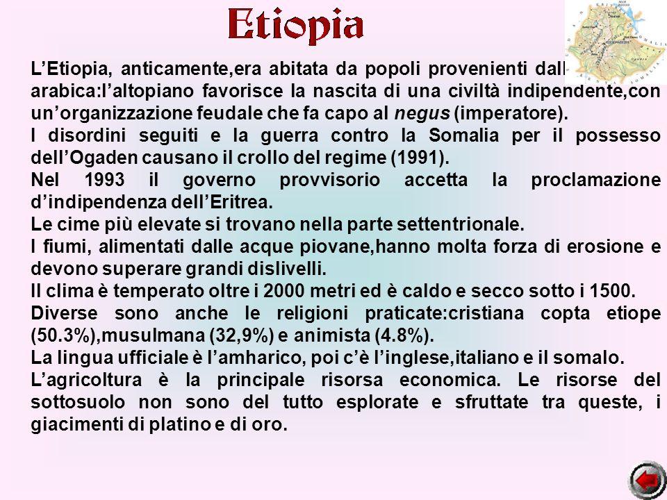 LEtiopia, anticamente,era abitata da popoli provenienti dalla Penisola arabica:laltopiano favorisce la nascita di una civiltà indipendente,con unorgan