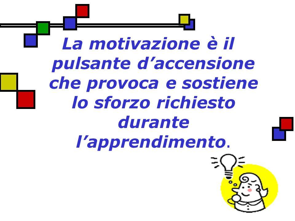 La motivazione è il pulsante daccensione che provoca e sostiene lo sforzo richiesto durante lapprendimento.
