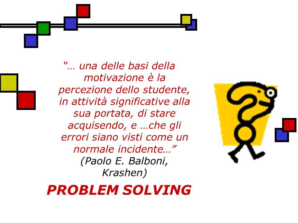 … una delle basi della motivazione è la percezione dello studente, in attività significative alla sua portata, di stare acquisendo, e …che gli errori