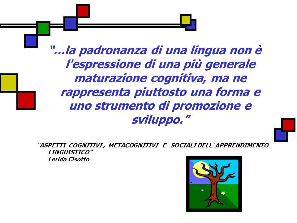 …la padronanza di una lingua non è l'espressione di una più generale maturazione cognitiva, ma ne rappresenta piuttosto una forma e uno strumento di p