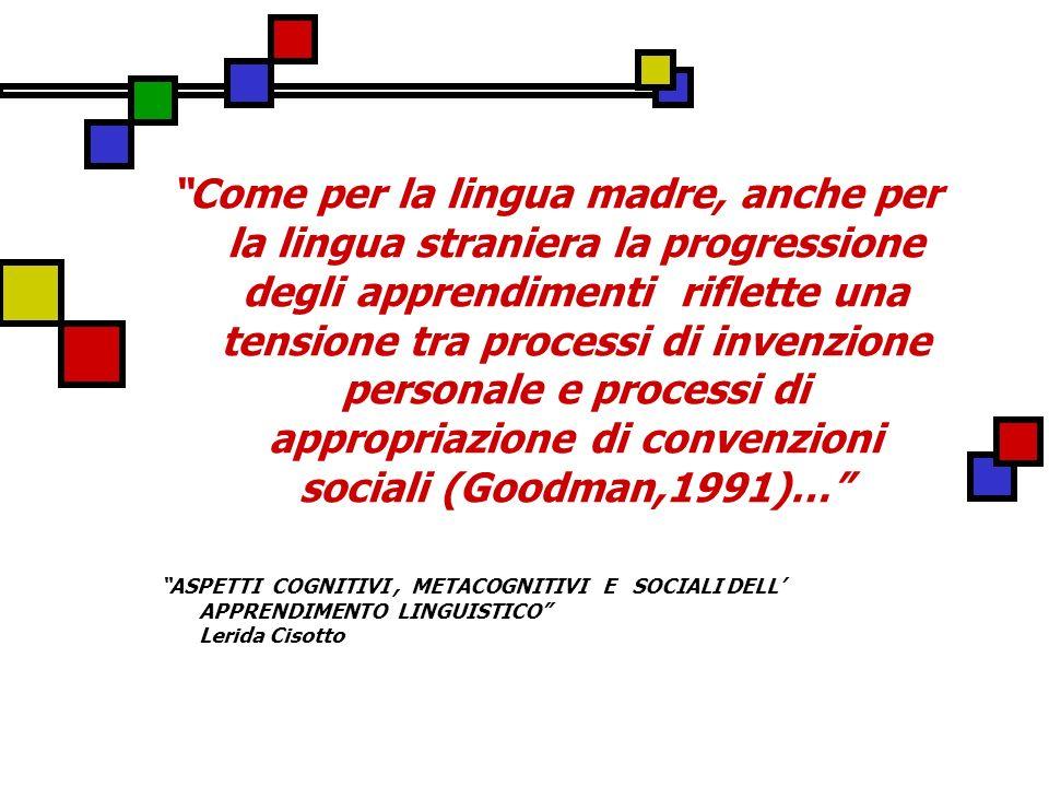 Come per la lingua madre, anche per la lingua straniera la progressione degli apprendimenti riflette una tensione tra processi di invenzione personale