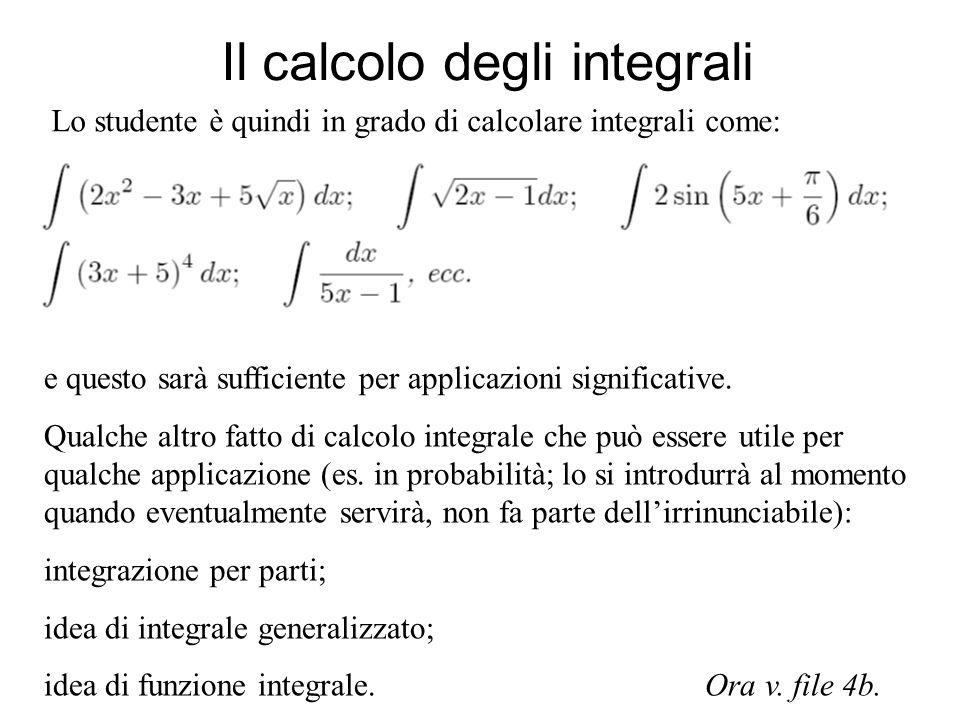 Il calcolo degli integrali Lo studente è quindi in grado di calcolare integrali come: e questo sarà sufficiente per applicazioni significative. Qualch