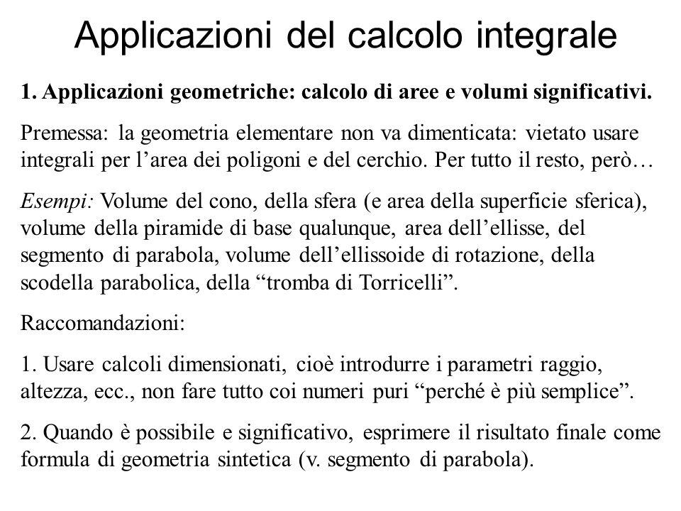Applicazioni del calcolo integrale 1. Applicazioni geometriche: calcolo di aree e volumi significativi. Premessa: la geometria elementare non va dimen