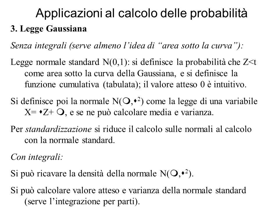 Applicazioni al calcolo delle probabilità 3. Legge Gaussiana Senza integrali (serve almeno lidea di area sotto la curva): Legge normale standard N(0,1