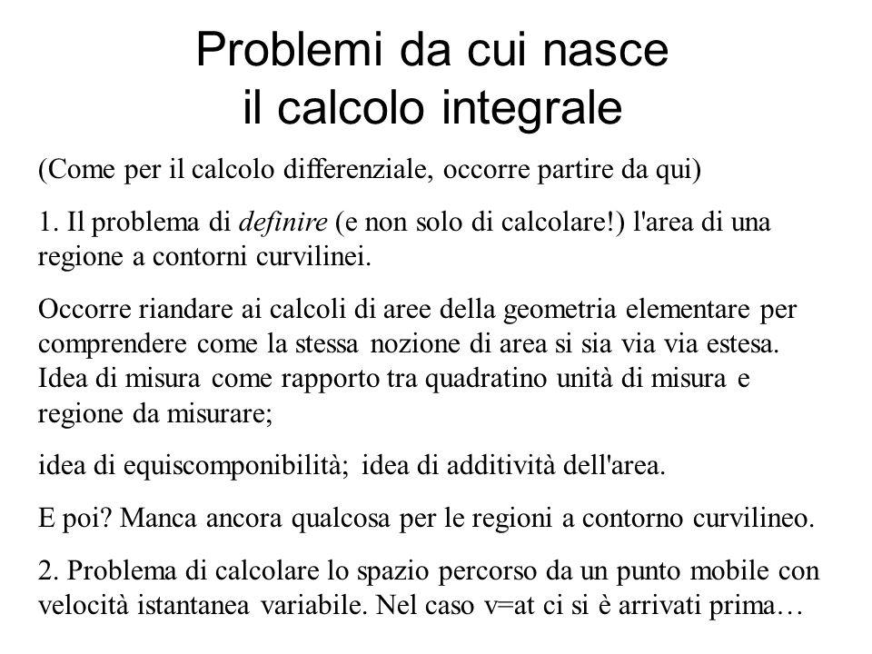 Problemi da cui nasce il calcolo integrale (Come per il calcolo differenziale, occorre partire da qui) 1. Il problema di definire (e non solo di calco