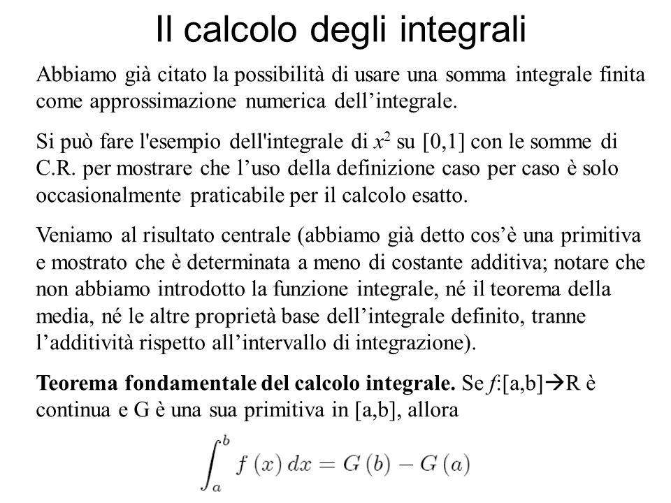 Il calcolo degli integrali Si può dimostrare il teorema fondamentale del calcolo integrale direttamente, come applicazione del teorema di Lagrange e dellintegrabilità delle funzioni continue.