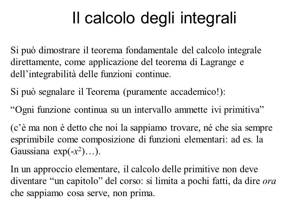Il calcolo degli integrali Si può dimostrare il teorema fondamentale del calcolo integrale direttamente, come applicazione del teorema di Lagrange e d