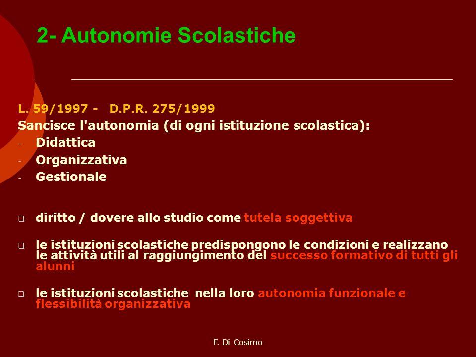 2- Autonomie Scolastiche L. 59/1997 - D.P.R. 275/1999 Sancisce l'autonomia (di ogni istituzione scolastica): - Didattica - Organizzativa - Gestionale