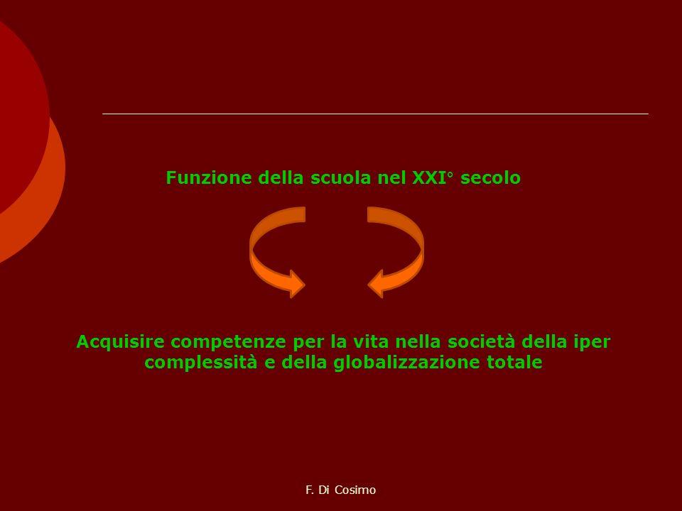 Funzione della scuola nel XXI° secolo Acquisire competenze per la vita nella società della iper complessità e della globalizzazione totale