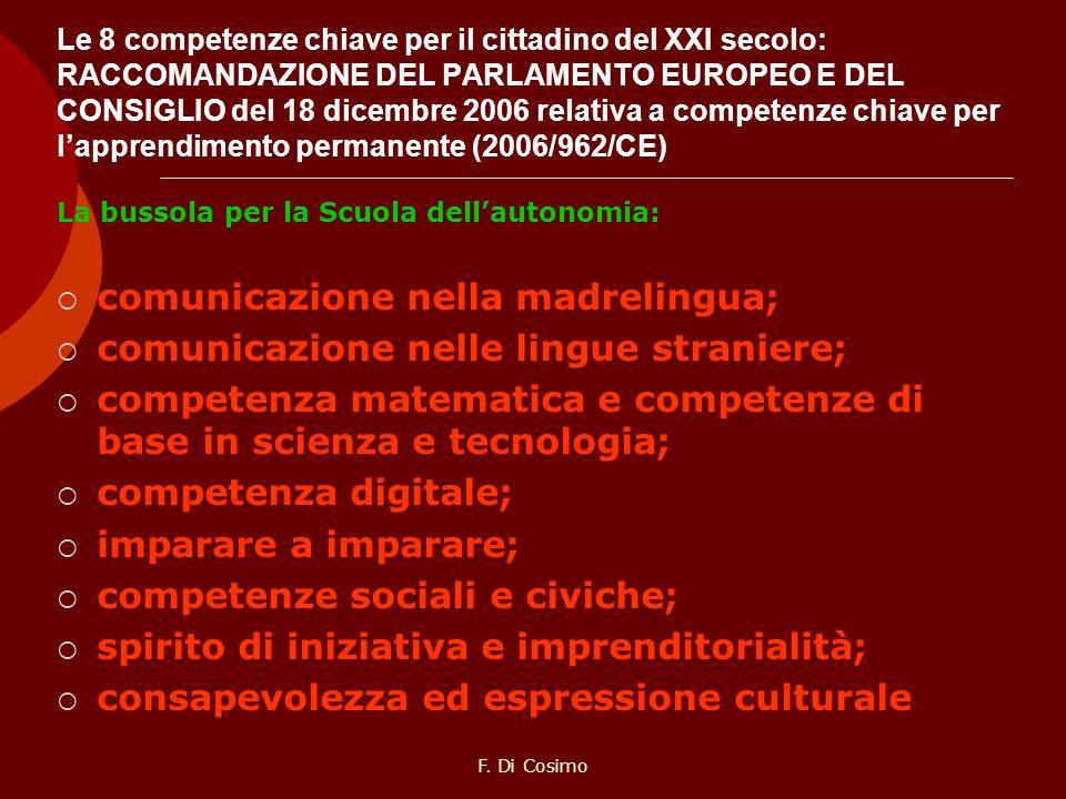 Le 8 competenze chiave per il cittadino del XXI secolo: RACCOMANDAZIONE DEL PARLAMENTO EUROPEO E DEL CONSIGLIO del 18 dicembre 2006 relativa a compete