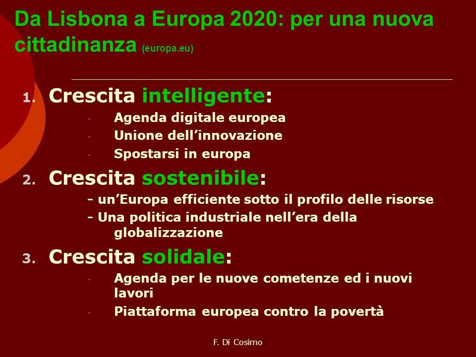 Da Lisbona a Europa 2020: per una nuova cittadinanza (europa.eu) 1. Crescita intelligente: - Agenda digitale europea - Unione dellinnovazione - Sposta