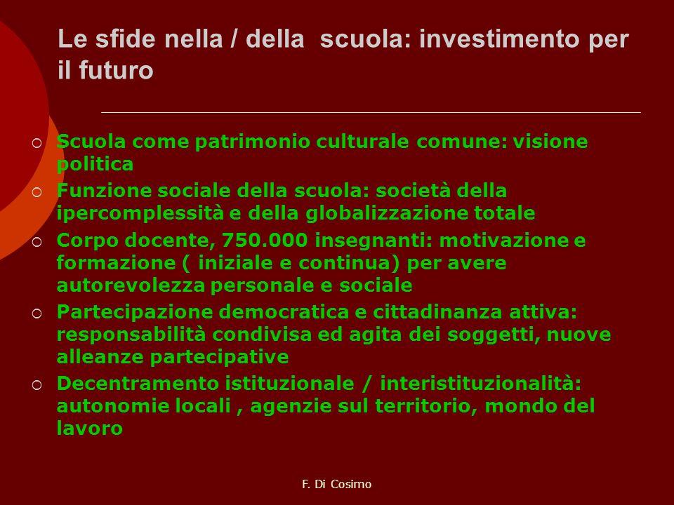 Le sfide nella / della scuola: investimento per il futuro Scuola come patrimonio culturale comune: visione politica Funzione sociale della scuola: soc