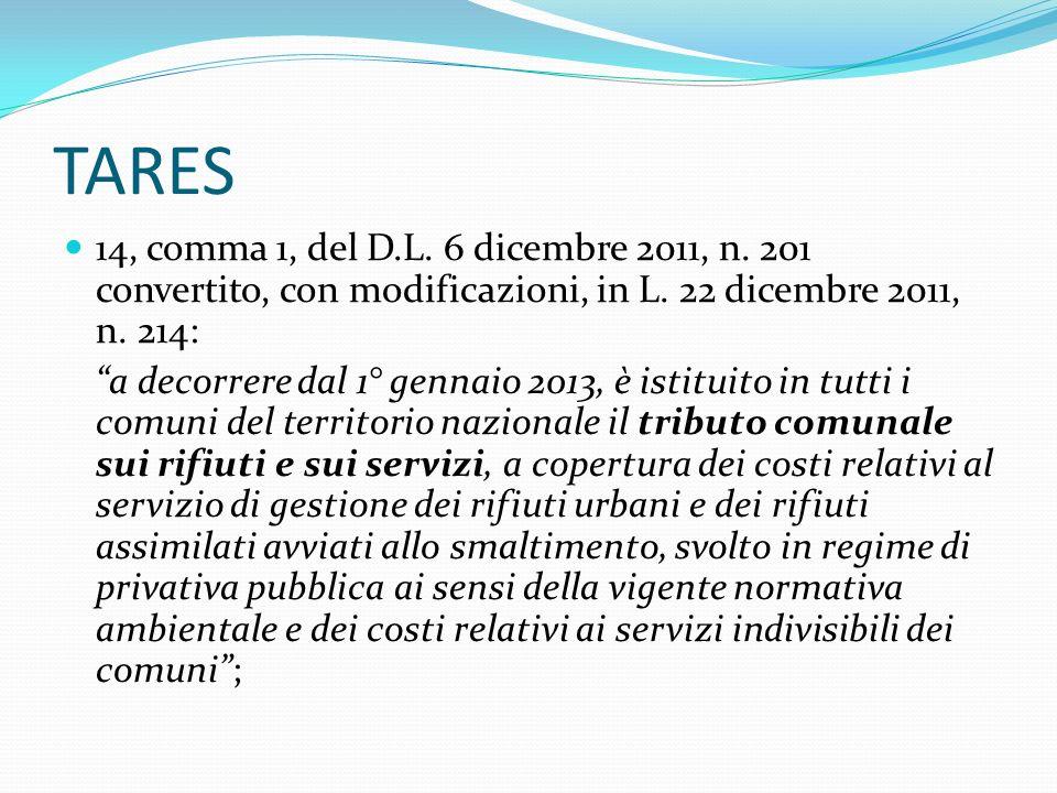 TARES Con la LEGGE DI STABILITA 2013 - Legge 24/12/2012 n.228, con lart.1, comma 387, INTRODUZIONE TARES a partire dal 2013 Con lart.10 – comma 2 - D.L.