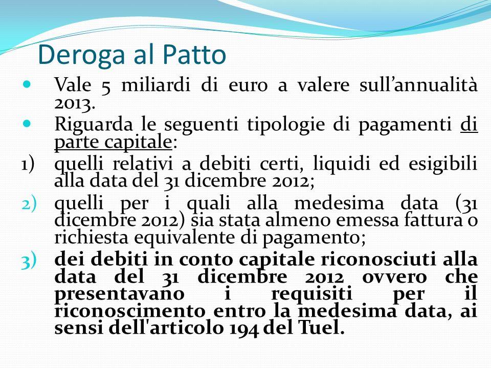 Deroga al Patto Vale 5 miliardi di euro a valere sullannualità 2013.