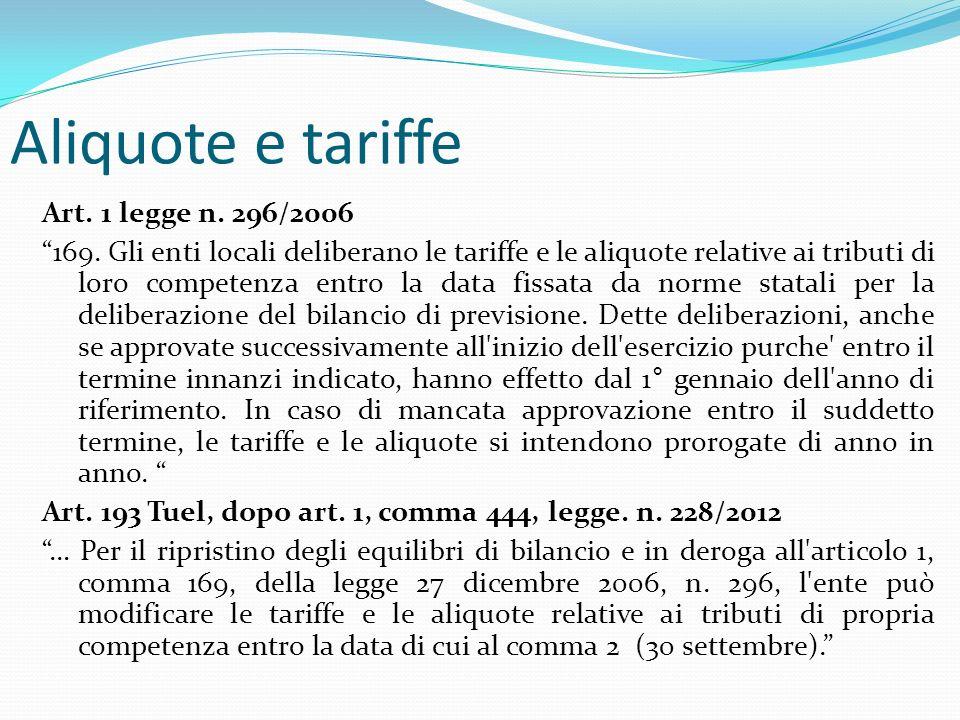 Aliquote e tariffe Art. 1 legge n. 296/2006 169.