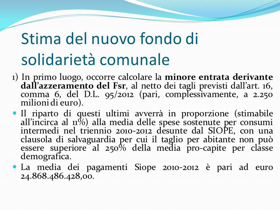 Stima del nuovo fondo di solidarietà comunale 1) In primo luogo, occorre calcolare la minore entrata derivante dallazzeramento del Fsr, al netto dei tagli previsti dallart.