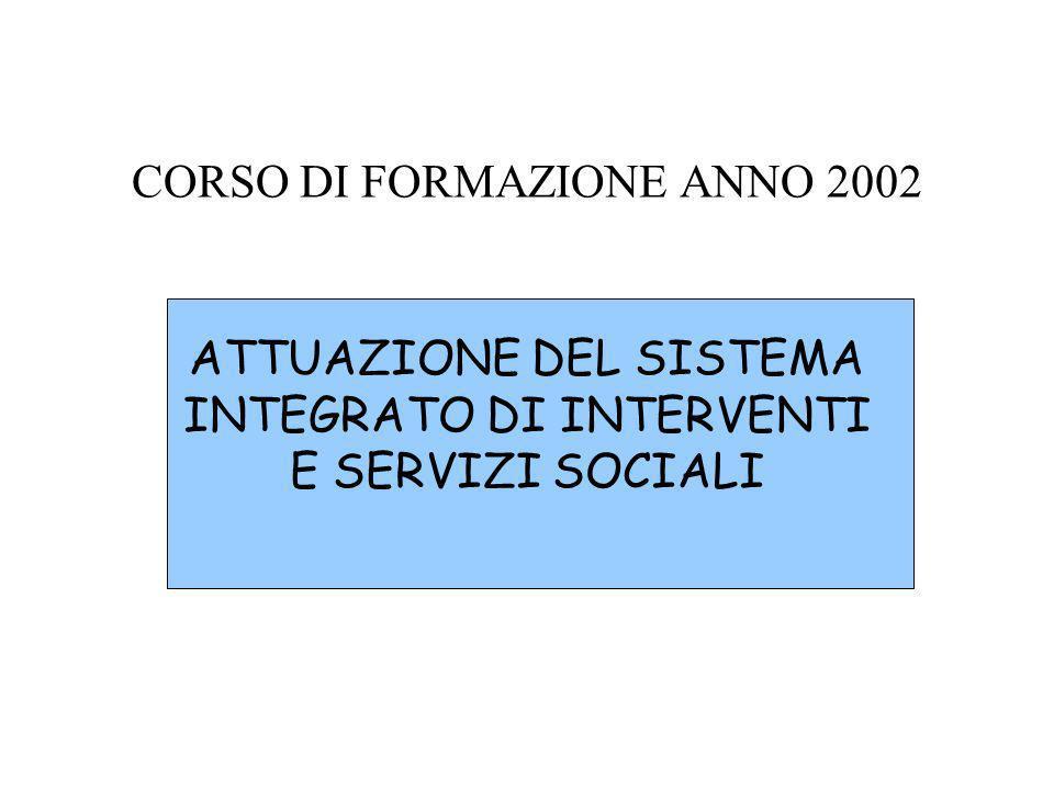 CORSO DI FORMAZIONE ANNO 2002 ATTUAZIONE DEL SISTEMA INTEGRATO DI INTERVENTI E SERVIZI SOCIALI