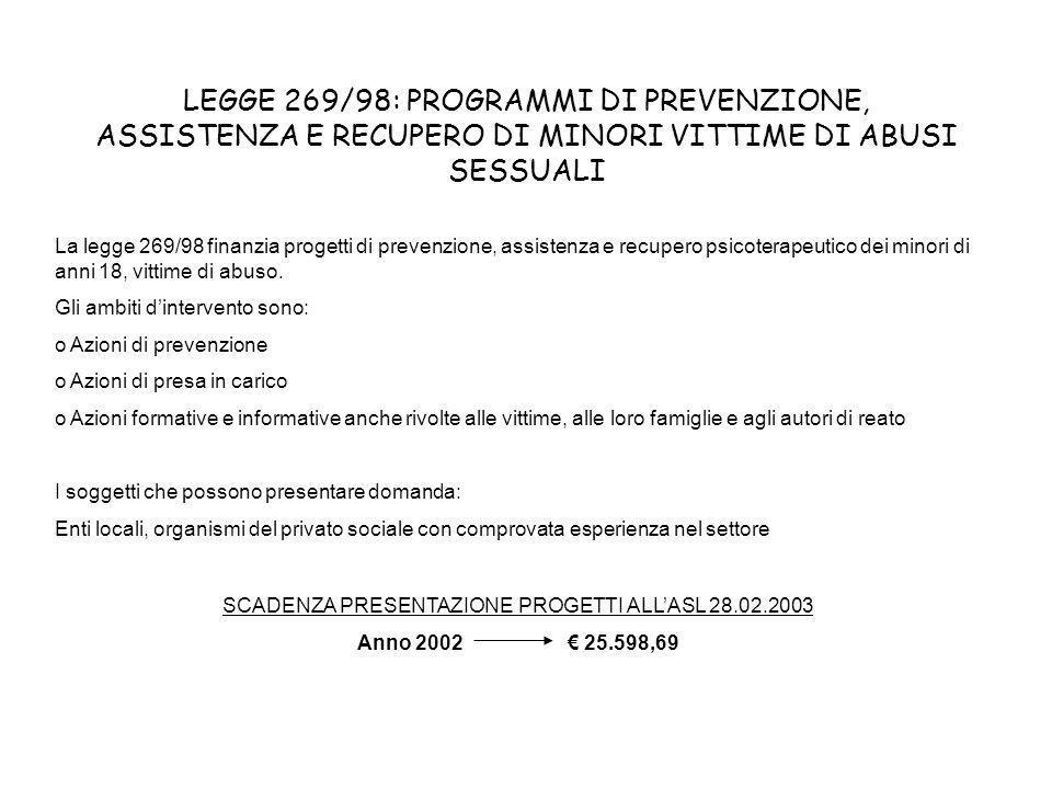 LEGGE 269/98: PROGRAMMI DI PREVENZIONE, ASSISTENZA E RECUPERO DI MINORI VITTIME DI ABUSI SESSUALI La legge 269/98 finanzia progetti di prevenzione, as