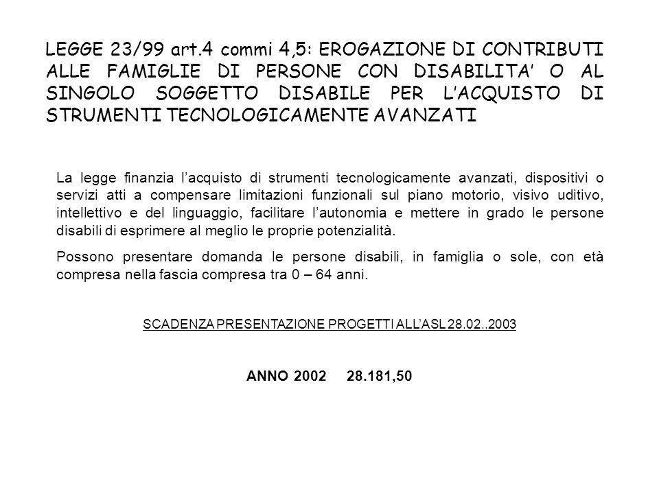 LEGGE 23/99 art.4 commi 4,5: EROGAZIONE DI CONTRIBUTI ALLE FAMIGLIE DI PERSONE CON DISABILITA O AL SINGOLO SOGGETTO DISABILE PER LACQUISTO DI STRUMENTI TECNOLOGICAMENTE AVANZATI La legge finanzia lacquisto di strumenti tecnologicamente avanzati, dispositivi o servizi atti a compensare limitazioni funzionali sul piano motorio, visivo uditivo, intellettivo e del linguaggio, facilitare lautonomia e mettere in grado le persone disabili di esprimere al meglio le proprie potenzialità.