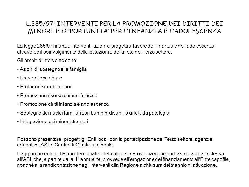 L.285/97: INTERVENTI PER LA PROMOZIONE DEI DIRITTI DEI MINORI E OPPORTUNITA PER LINFANZIA E LADOLESCENZA La legge 285/97 finanzia interventi, azioni e progetti a favore dellinfanzia e delladolescenza attraverso il coinvolgimento delle istituzioni e della rete del Terzo settore.