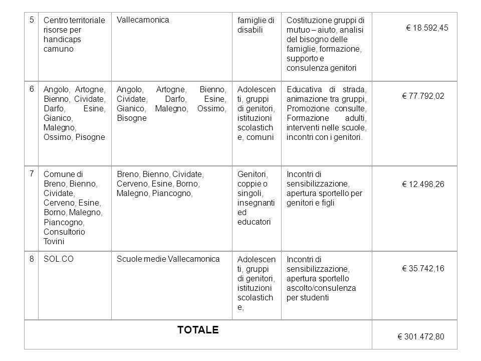 5Centro territoriale risorse per handicaps camuno Vallecamonicafamiglie di disabili Costituzione gruppi di mutuo – aiuto, analisi del bisogno delle fa