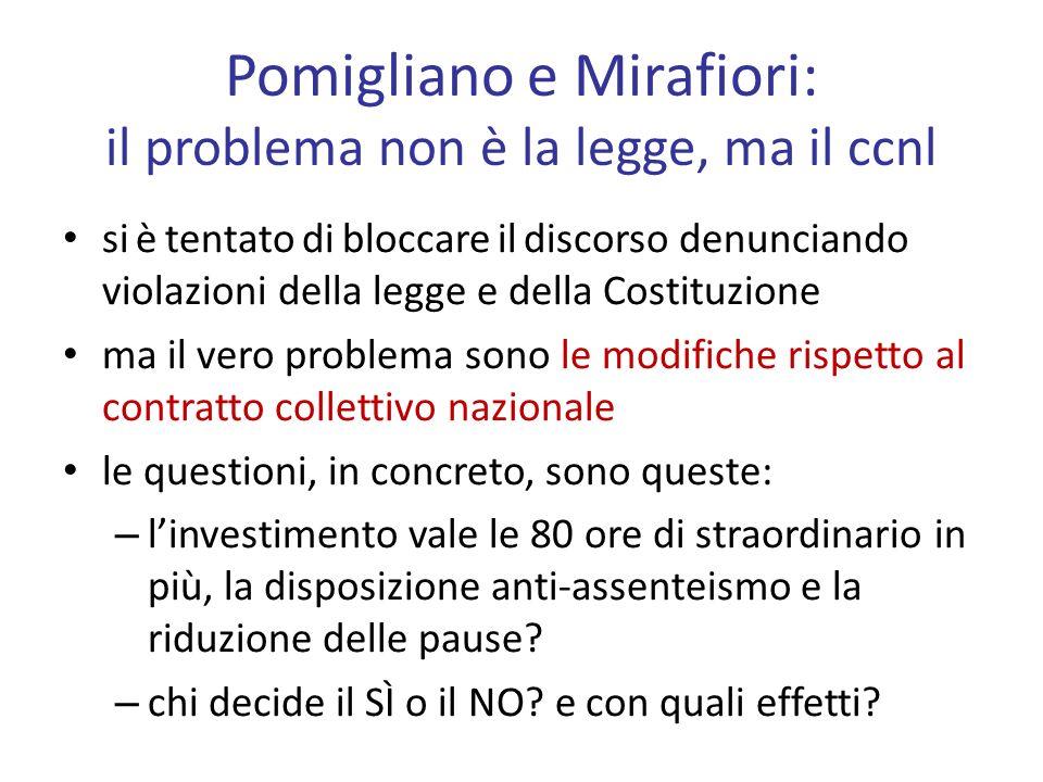 Pomigliano e Mirafiori: il problema non è la legge, ma il ccnl si è tentato di bloccare il discorso denunciando violazioni della legge e della Costitu