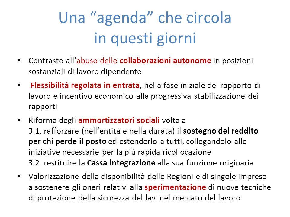 Una agenda che circola in questi giorni Contrasto allabuso delle collaborazioni autonome in posizioni sostanziali di lavoro dipendente Flessibilità re