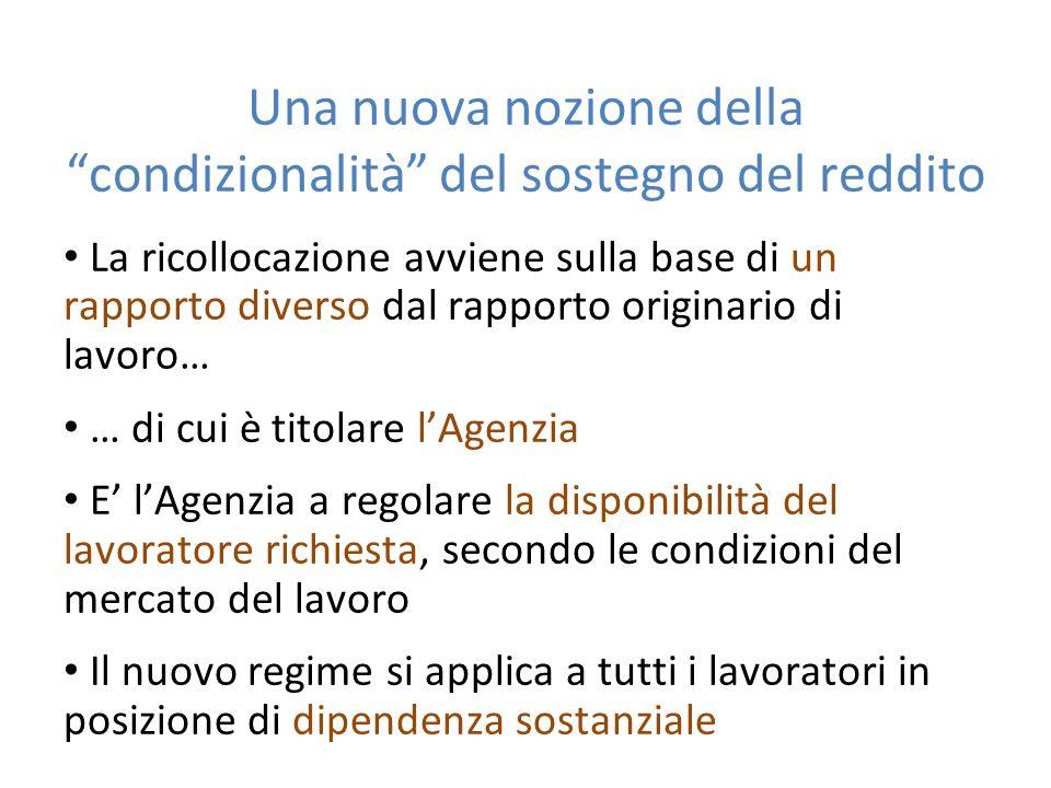 Una nuova nozione della condizionalità del sostegno del reddito La ricollocazione avviene sulla base di un rapporto diverso dal rapporto originario di