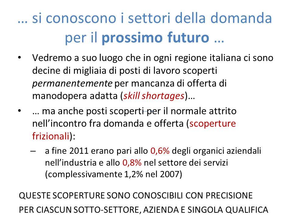 … si conoscono i settori della domanda per il prossimo futuro … Vedremo a suo luogo che in ogni regione italiana ci sono decine di migliaia di posti d