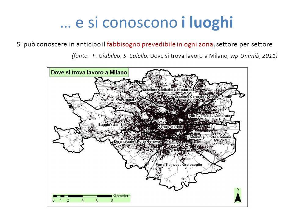 … e si conoscono i luoghi Si può conoscere in anticipo il fabbisogno prevedibile in ogni zona, settore per settore (fonte: F. Giubileo, S. Caiello, Do