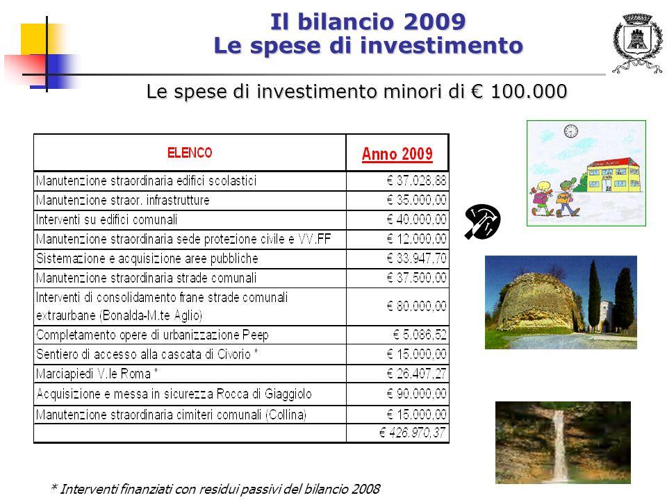Il bilancio 2009 Le spese di investimento Le spese di investimento minori di 100.000 * Interventi finanziati con residui passivi del bilancio 2008