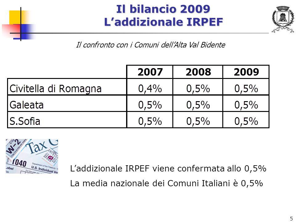 5 Il bilancio 2009 Laddizionale IRPEF Laddizionale IRPEF viene confermata allo 0,5% La media nazionale dei Comuni Italiani è 0,5% Il confronto con i Comuni dellAlta Val Bidente