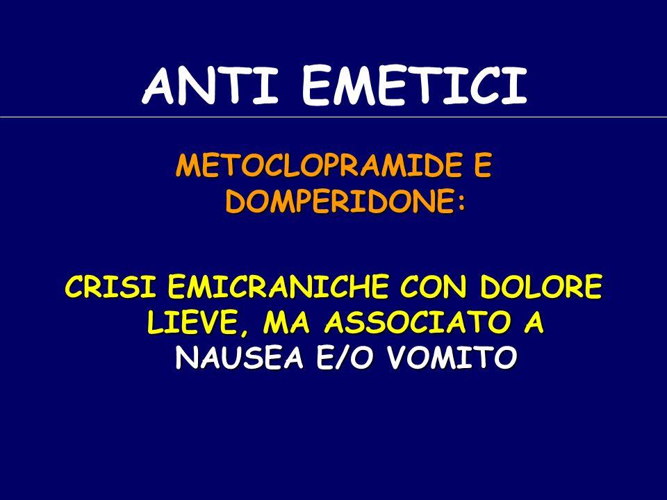 ANTI EMETICI METOCLOPRAMIDE E DOMPERIDONE: CRISI EMICRANICHE CON DOLORE LIEVE, MA ASSOCIATO A NAUSEA E/O VOMITO