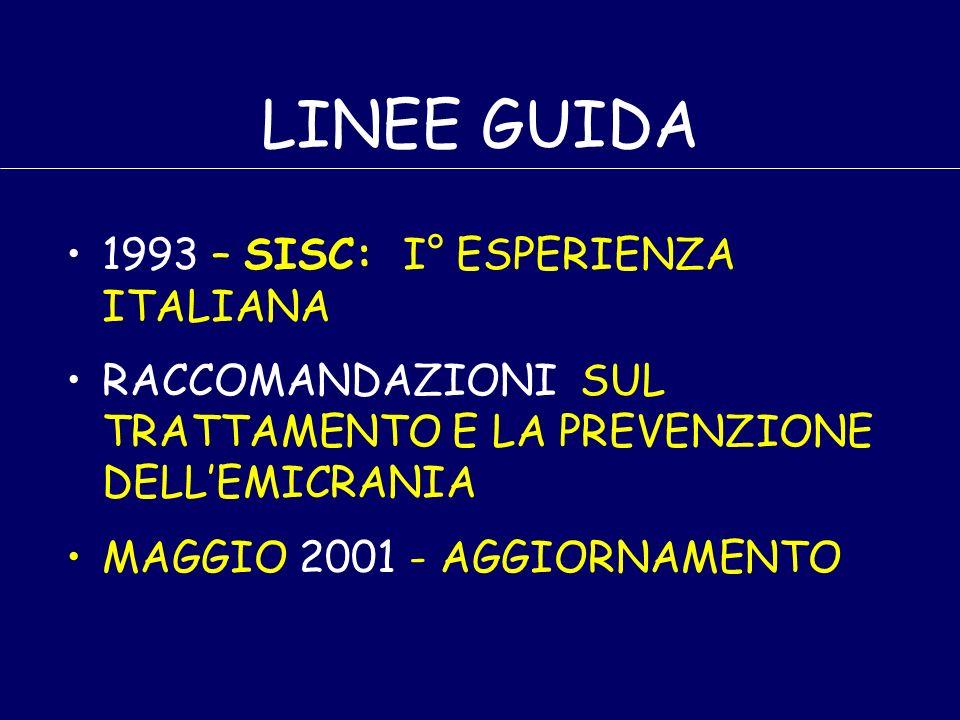LINEE GUIDA 1993 – SISC: I° ESPERIENZA ITALIANA RACCOMANDAZIONI SUL TRATTAMENTO E LA PREVENZIONE DELLEMICRANIA MAGGIO 2001 - AGGIORNAMENTO