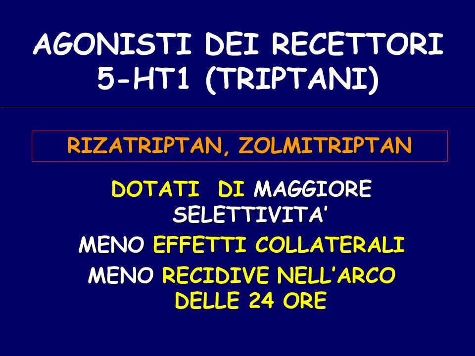 DOTATI DI MAGGIORE SELETTIVITA MENO EFFETTI COLLATERALI MENO RECIDIVE NELLARCO DELLE 24 ORE AGONISTI DEI RECETTORI 5-HT1 (TRIPTANI) RIZATRIPTAN, ZOLMITRIPTAN
