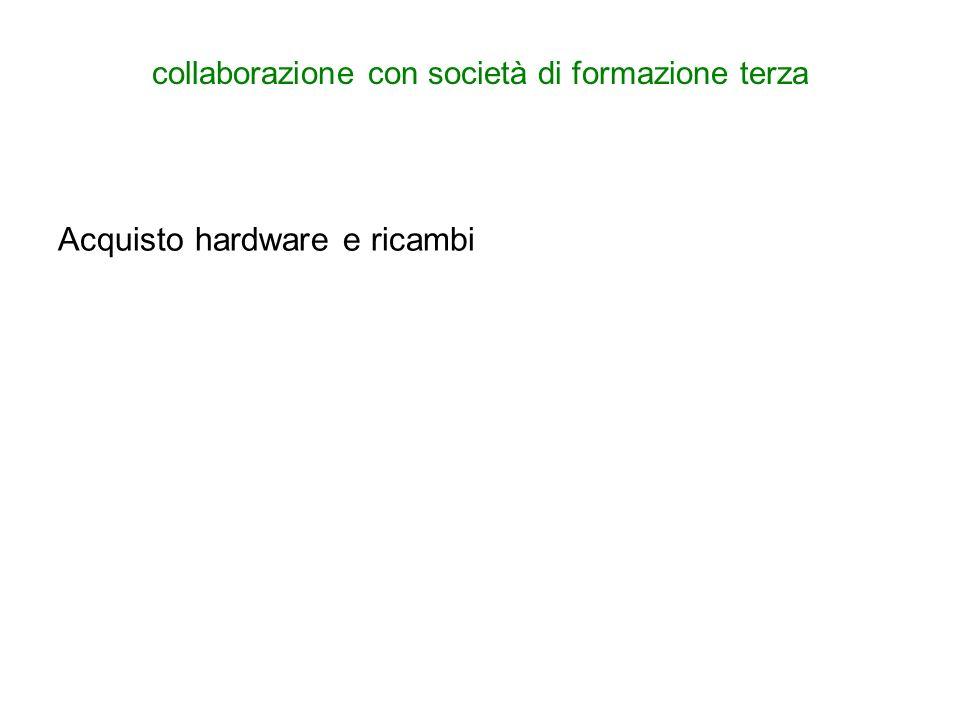 collaborazione con società di formazione terza Acquisto hardware e ricambi