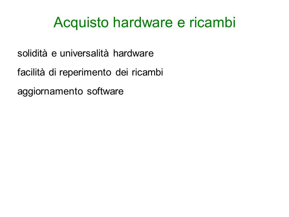 solidità e universalità hardware facilità di reperimento dei ricambi aggiornamento software
