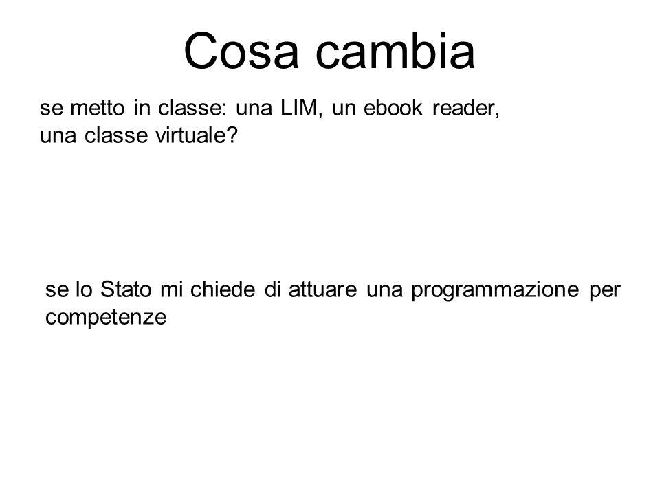 se metto in classe: una LIM, un ebook reader, una classe virtuale? se lo Stato mi chiede di attuare una programmazione per competenze