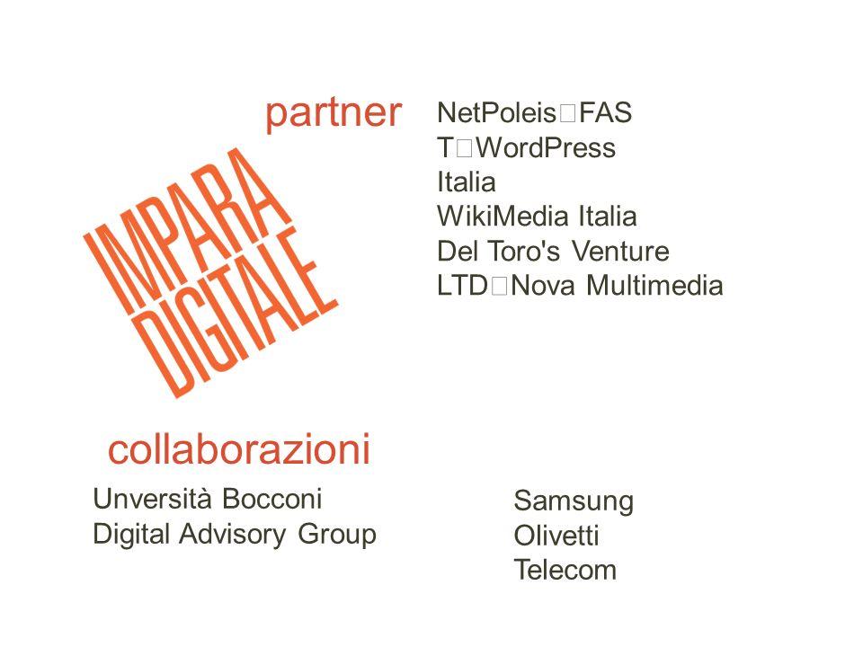 partner WikiMedia Italia Del Toro's Venture LTD Nova Multimedia NetPoleis FAS T WordPress Italia collaborazioni Unversità Bocconi Digital Advisory Gro
