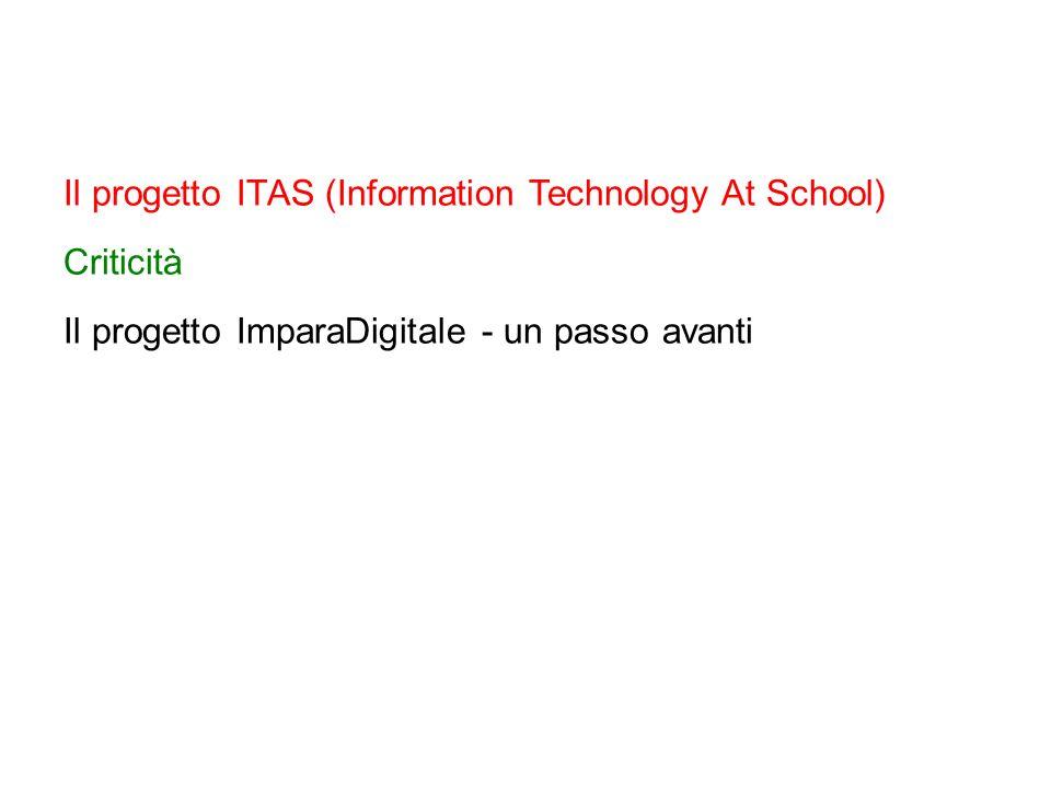 Il progetto ITAS (Information Technology At School) Criticità Il progetto ImparaDigitale - un passo avanti
